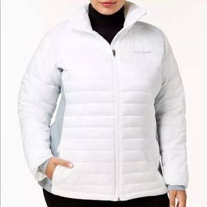 Columbia Powder Pillow White Zip Up Hybrid Jacket